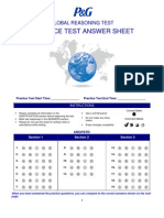 Practice Reasoning Test Answer Sheet
