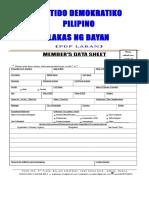 Members Data Sheet 2