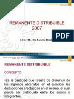 DONATARIAS REMANENTE DISTRIBUIBLE