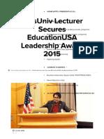 PresUniv Lecturer Secures EducationUSA Leadership Award 2015