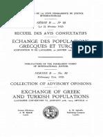 Echange Des Populations Grecques Et Turques Avis Consultatif