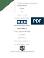 Training Report of NBC Bearing
