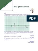 GCSE Level Optics Questions