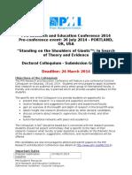 Doctoral Colloquium Guidelines - REC 2014
