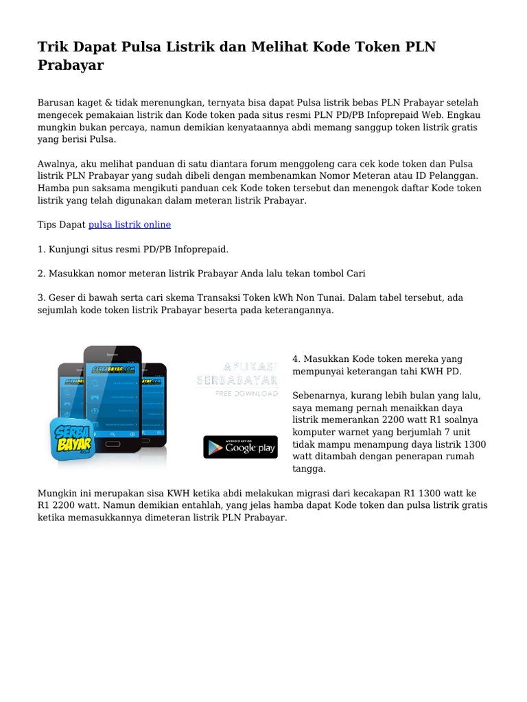 Trik Dapat Pulsa Listrik dan Melihat Kode Token PLN Prabayar