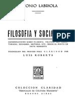 Antonio Labriola, Filosofía y Socialismo (1899) OCRed