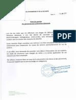 Note de Service Au Personnel de La Direction Générale