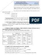 ficha dos determinantes e pronomes possessivos-