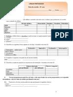 Ficha de Revisão Gramática 5. Ano