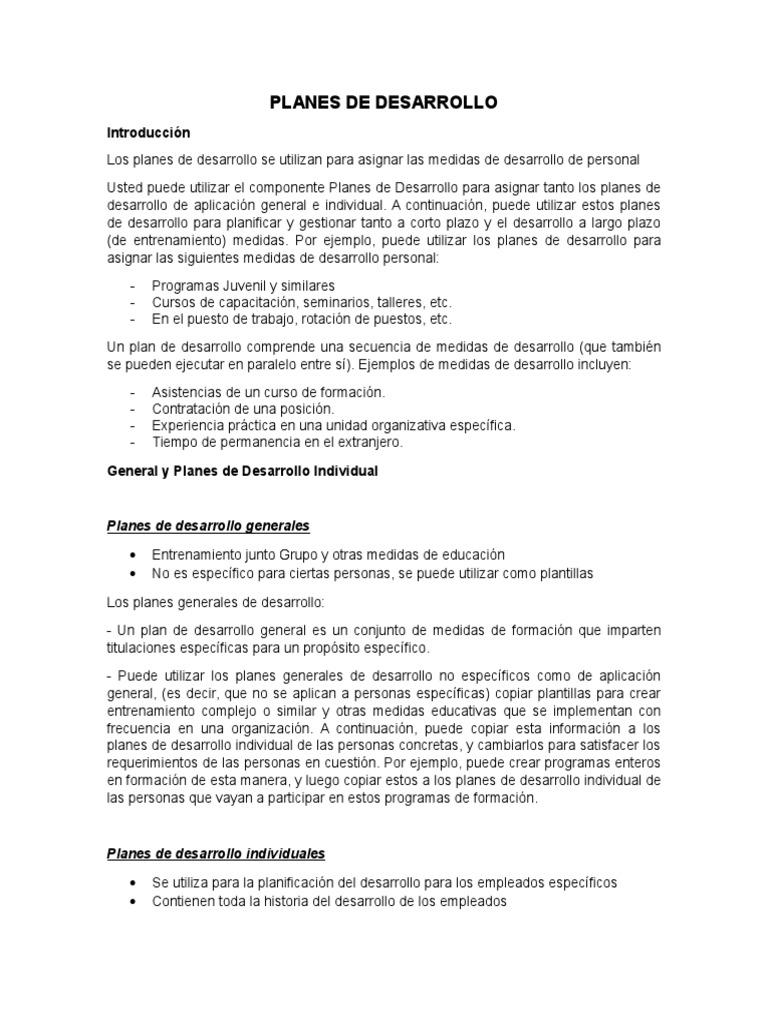 Planes de Desarrollo - PD SAP