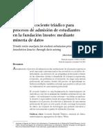 Análisis de cociente triádico para  procesos de admisión de estudiantes en la fundación Insutec mediante  minería de datos