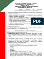 Convocatoria Rev Ciencias Sociales y Educación No 9