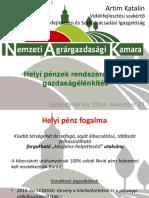Helyi Pénzek Rendszere, Helyi Gazdaságélénkítés - Nemzeti Agrárgazdasági Kamara