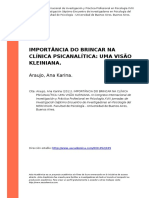 Araujo, Ana Karina (2011). Importancia Do Brincar Na Clinica Psicanalitica Uma Visao Kleiniana