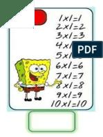 Tablas de Multiplicar Del 1 Al 9 (Hoja Completa Oficio)