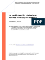 Annunziata, Rocio (2009). La Participacion Ciudadana Nuevas Formas y Conceptos