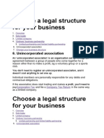 Choose a Legal Structure for Your Business 6
