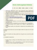 Trisodium Citrate Anticoagulant Solution
