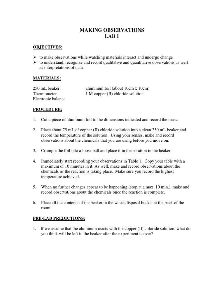 Aluminum and copper chloride lab procedure manual
