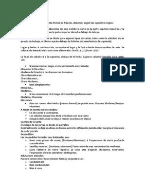 Carta Formal Francés Coche Transporte