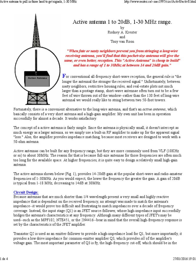 Active Antenna 1-30 MHz | Antenna (Radio) | Amplifier