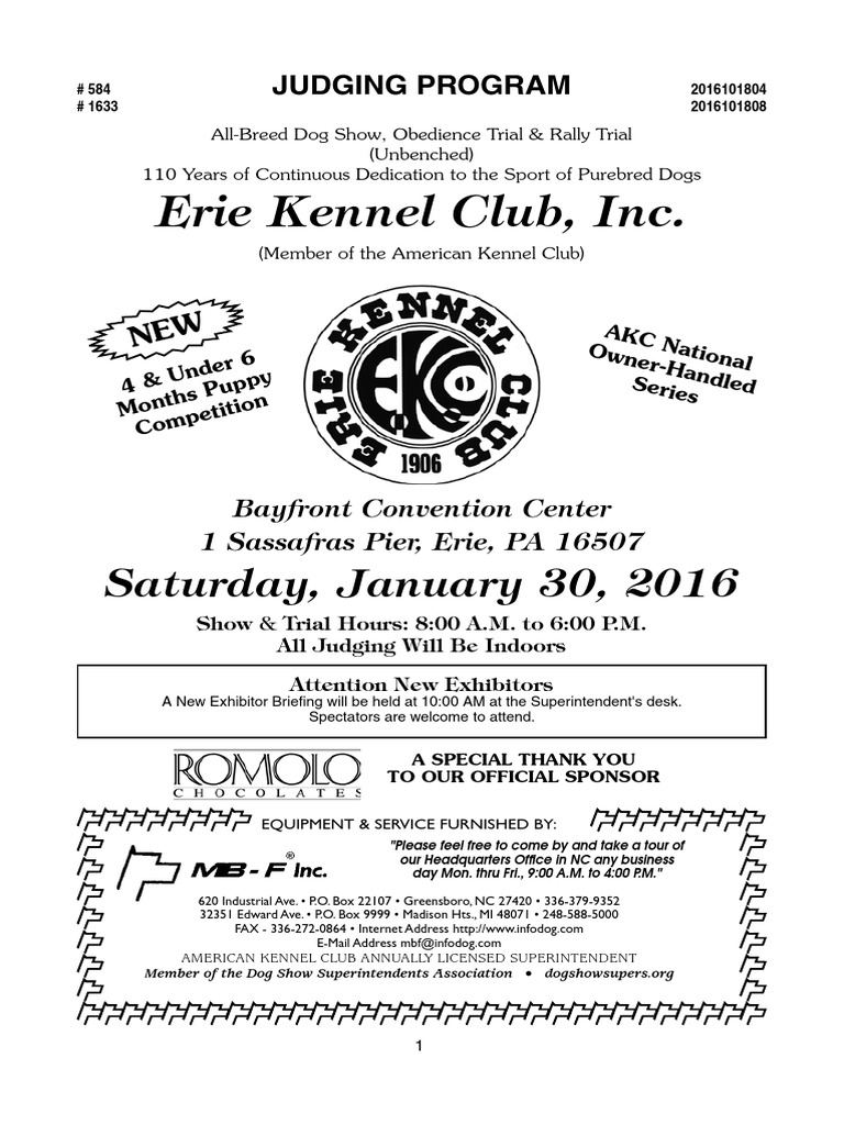 Saturday Judging Program For The American Kennel Club All Breed Conformation And Obedience Show In Erie On Jan 30