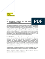 #CAHacked Letter From PS MOIC to ISPs on Technical Support in the Management of Cybercrime in Kenya - 7th Nov. 2013