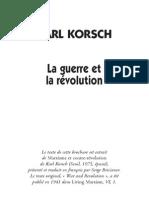 Karl Korsch - La guerre et la révolution (2001)