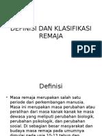 Definisi Dan Klasifikasi Remaja