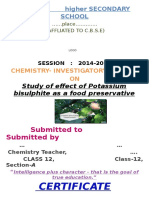 effect of potassium bisulphate as food preservative under various condition