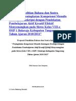 Proposal Penelitian Bahasa Dan Sastra Indonesia