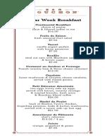 Oscar Week 2016 Bar Bouchon Breakfast Menu