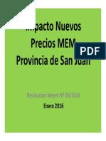 Impacto Nuevos Precios MEM San Juan