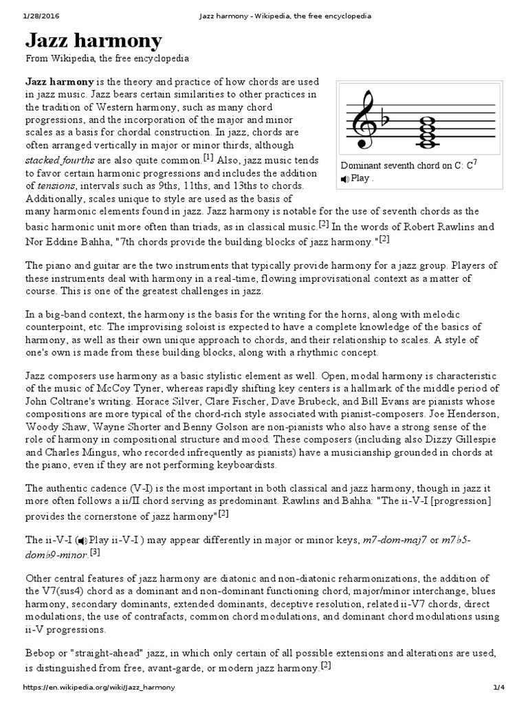 Jazz Harmony - Wikipedia, The Free Encyclopedia | Chord (Music) | Harmony