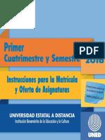 Instrucciones Para La Matrícula y Oferta de Asignaturas I Cuatrmestre 2016