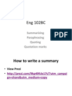 HEng102 SummaryonPrezi Paraphrase Quote QuotationMarks SP16