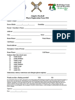 Adaptive Baseball Registration Form 2016