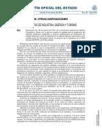 BOLETÍN OFICIAL DEL ESTADO Núm. 18 Jueves 21 de enero de 2016 Sec. III.   Pág. 5615 III. OTRAS DISPOSICIONES MINISTERIO DE INDUSTRIA, ENERGÍA Y TURISMO