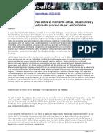 Algunas consideraciones sobre el momento actual, los alcances y la potencia transformadora del proceso de paz en Colombia