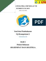 Solusi Uji Kompetensi 1 Matematika SMP Kelas 7 Kurikulum 2013 (Edisi Revisi 2014) Semester 2