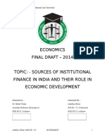 Economics - Sources of Institutional Finance in India