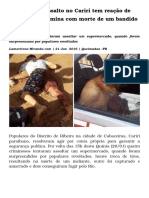Tentativa de Assalto No Cariri Tem Reação de Populares e Termina Com Morte de Um Bandido e Dois Feridos