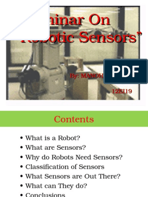 Robotic Sensors PPT | Sensor | Infrared