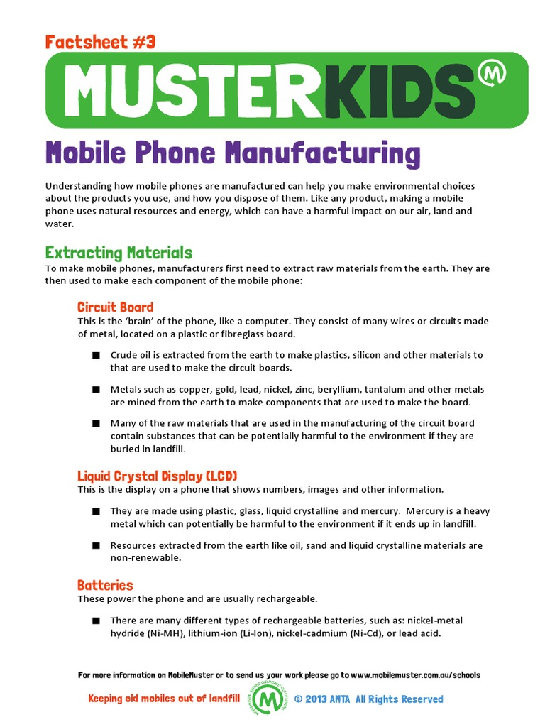 Factsheet3 Mobile Phone Manufacturing | Lithium Ion Battery