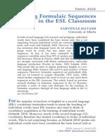 Teaching Formulaic Sequences in the ESL Classroom