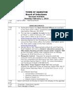 Hamilton Board of Selectmen Agenda, Feb. 1, 2016