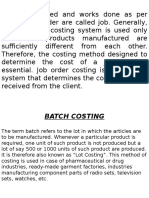 Job, Batch Costing