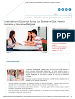 Licenciatura en Educación Básica Con Énfasis en Ética, Valores Humanos y Educación Religiosa