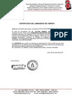 Certificado de Laminados de Vidrios