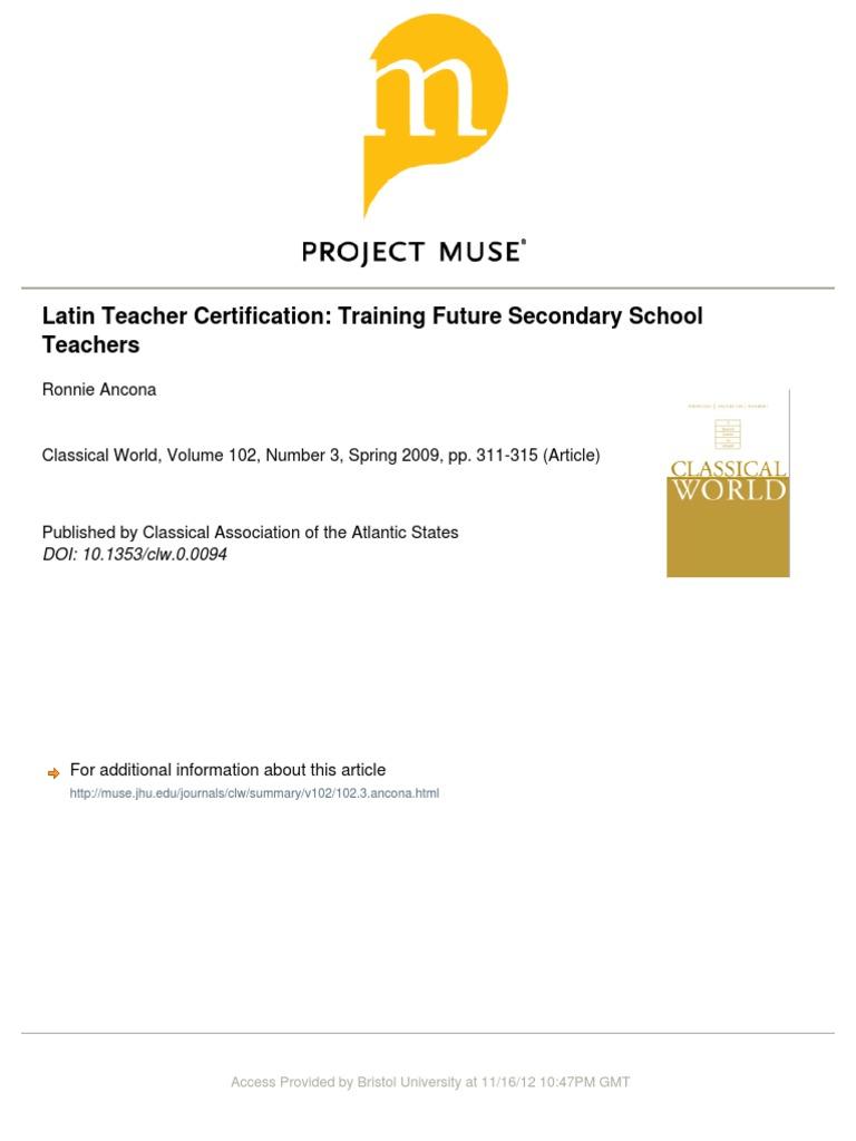 Latin Teacher Certification Training Future Secondary School